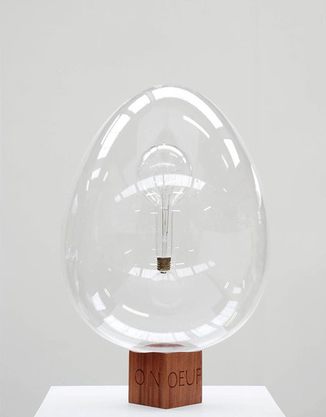 cosascool:  Oliver Clegg's entry for the Fabergé Big Egg Hunt contains a hovering light bulb with the filament spelling out the word 'oeuf'.