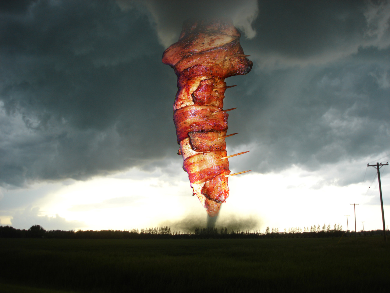 Bacon-wrapped tornado in Oklahoma.