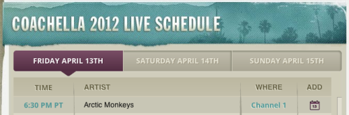 Queued post: 30 minutes til Arctic Monkeys' set in Coachella! Live stream is available on YouTube, Channel 1. Also, I left the FYAM chat open for everyone to use starting… well, now. x