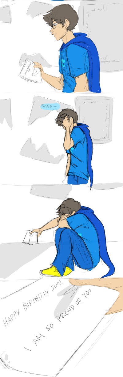 So I spent basically all day drawing this comic. And then I finished and wow, these were the only panels that were actually necessary to get the point across, so. whoops. Anyways, yeah, happy 4/13, enjoy some fail sadstuck.