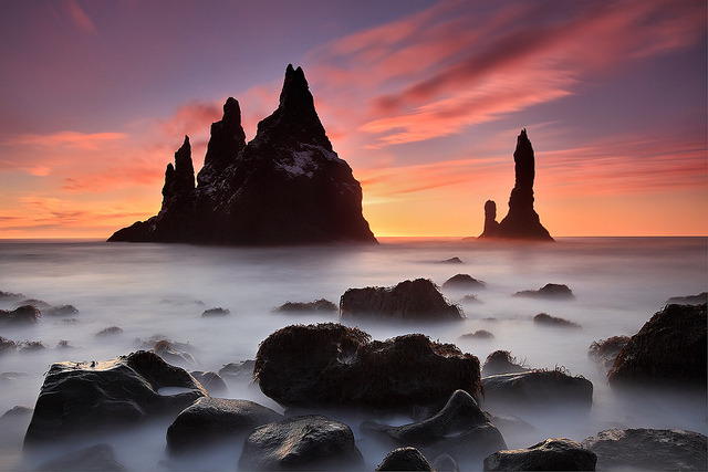 cyberanto:  Extented Sunrise - Reynisdrangar near Vík, Iceland by orvaratli on Flickr.