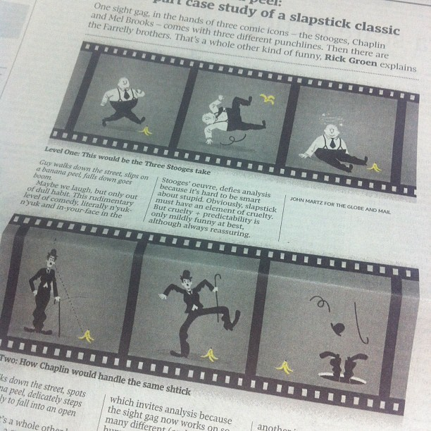Dissecting the intricacies of slapstick, from today's Globe. (Taken with instagram)