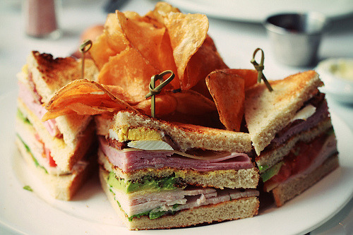 thenommables:  Club Sandwich From Bottega Louie (by neillloool)