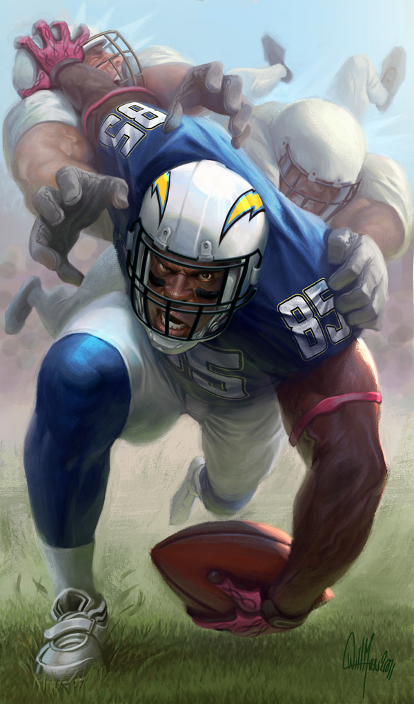 bolts:  Illustration of Antonio Gates by artist Will Murai featured in ESPN Magazine 2011