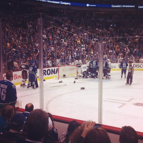 Oooohhh. Fight underway #canucks  (Taken with instagram)