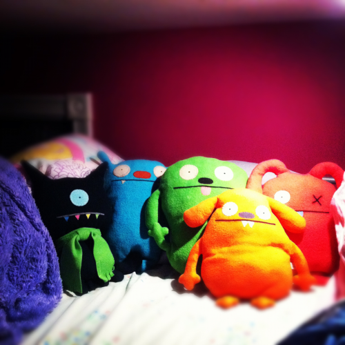 snuggle buddies. one day I'll have all the colors of the rainbow :)