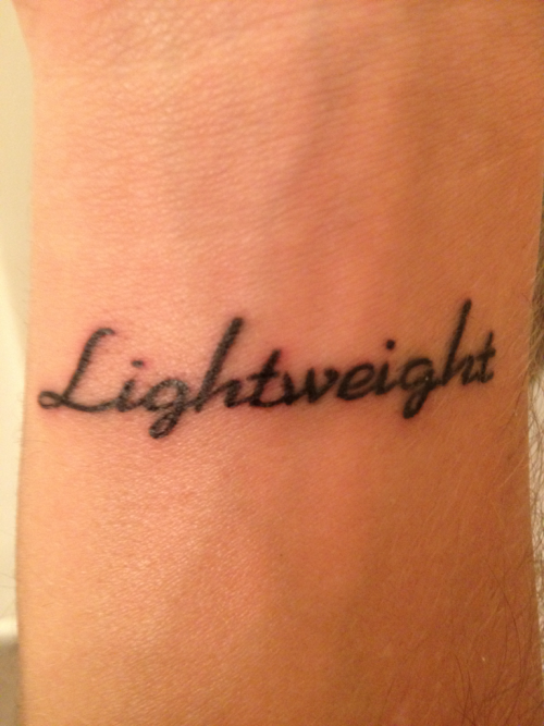 "My first tattoo. The idea came from the Demi Lovato song ""Lightweight."" It represents a metaphor comparing my emotions to alcohol. Love, Heartbreak, Anger, Jealousy, Pride, etc. The smallest amount and I'm completely overcome and overwhelmed by the emotion. I'm a lightweight."