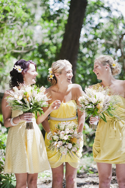 I like the idea of yellow bridesmaids dresses (: or red/pink, something that represents happiness, joy, and love (: