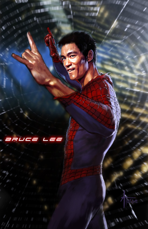 illusionarium:  Bruce Lee x Spiderman  Best thing.
