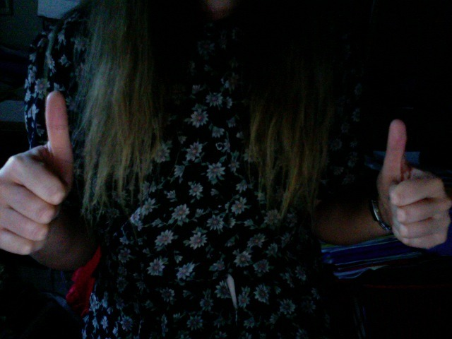 My top's pretty & the ends of my hair are just getting lighter and lighter