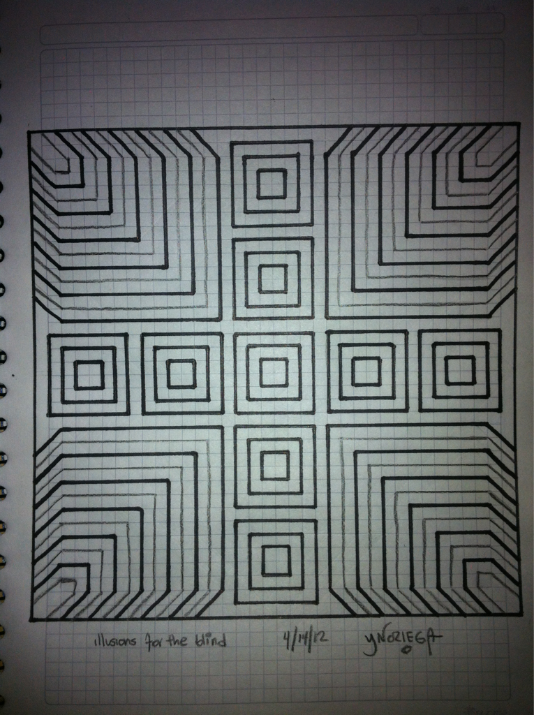 Illusions for the blind 4/14/12 By Yuliani Noriega    A quick sketch of a image I saw while I close by eyes for a moment. Another day I'll properly draw it with blacks a whites and maybe some shadows to give it a genuine optical illusion feel.