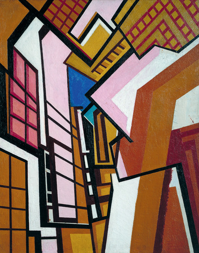 Workshop by Wyndham Lewis, c.1914. This is an example of the Vorticist movement, co-founded by British artist Wyndham Lewis. Similar to Cubism and Futurism, Vorticism involves bold, angular linework which creates strong movements in the visual images such as in Workshop.