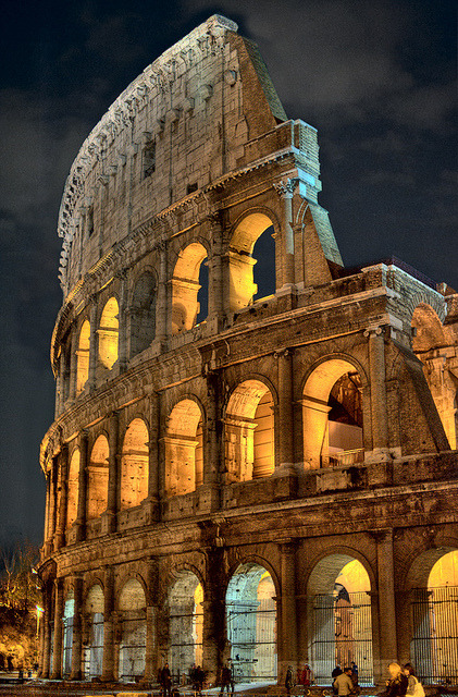 The Colosseum at night, Rome, Italy by Captain Blackadder (via sandofallweddingbeaches)