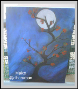 Cherry Tree by Moonlight. Acrilicos. acrylique. Twitter: @ciberurban
