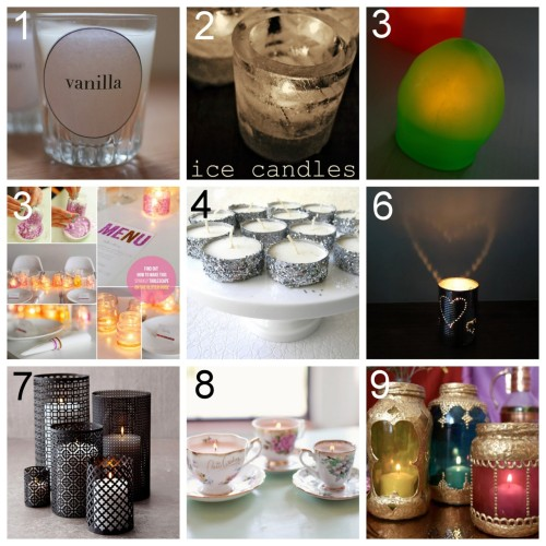 truebluemeandyou:  Nine DIY Candle Holder Ideas for Spring and Summer. Posts I made in the past that are great for parties, cheap gifts etc… DIY  Diptyque Inspired Candles (a pair & a spare) here. Ice Candle Votives (Intimate Weddings) here.  DIY Blob Lights. LED Candles and Balloons (Family Chic) here. DIY Sparkly Tablescape with glitter votives (The Glitter Guide) here. DIY Glitter Tea Lights (Frugalicious Me) here. DIY Tin Can Heart Lantern (charlottehupfieldceramics) here. Via holly-go-brightly *Another tutorial on punching through tin here. DIY Moroccan Inspired Hurricane Lanterns using aluminum sheeting (Urban Comfort) here. DIY Vintage Pink Teacup Candles (Hey Gorgeous) here. DIY Moroccan Laterns using gold puffy paint (Design Sponge) here. via minty cravings