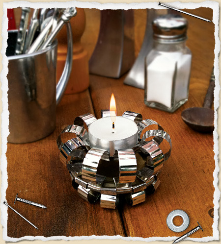 truebluemeandyou:  DIY Recycled Tin Can Tea Light Holder. Template and tutorial from one of my favorite sites What I Made… here.