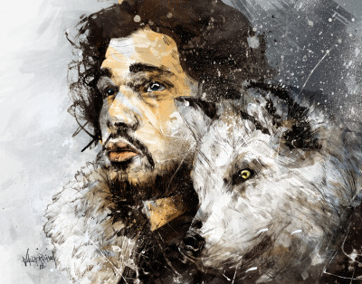 "Beyond The Wall  ""The Cold Winds are Rising""  I've been a huge fan of Game of Thrones and I don't know why it took so long for me to contribute to it's large gallery of fan arts. I believe that Jon Snow may be the most popular character(in terms of fan arts) as I've seen hundreds already online. So why did I choose to draw him? Other than he's got an awesome role but it's that part of the story where the Night's Watch go beyond the wall to look for their missing friends and the WHITE WALKERS. Yep, I'm not really fan of the dragons part as I've seen so many dragon stories and these white walkers are simply unique and different. Oh before I forget, that's his wolf Ghost, this season he is much bigger and so are the other Stark wolves.  ""Winter is coming…""  It's only the beginning of Season 2 and expect more Game of Thrones fan art from me. ^_^  Prints, Iphone/Ipod case, Laptop skins and Shirt prints of this piece are AVAILABLE HERE  Connect with me @:WebsiteDeviant ArtShadownessFacebookTwitterBehance"