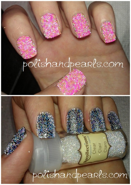 "truebluemeandyou:  DIY Gold and Pink Caviar Microbead Manicure. So much cheaper than Ciate who I guess is sending out cease and desist orders to bloggers using the term ""caviar manicure"" and on Friday a bunch of sites postes ""fish egg"" tutorials. Really good and easy video tutorial by Polish and Pearls here."