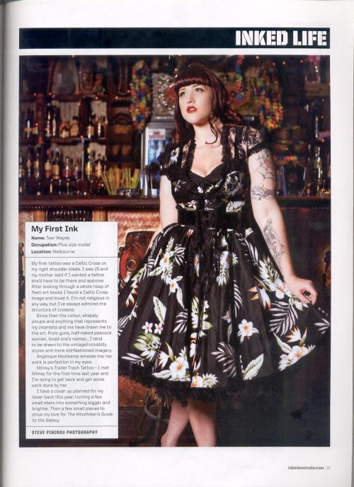 A mini interview in Inked Australia/NZ March-April issue. Photographer - Steve Pinirou Outfit - Hell Bunny Location - LuWOW