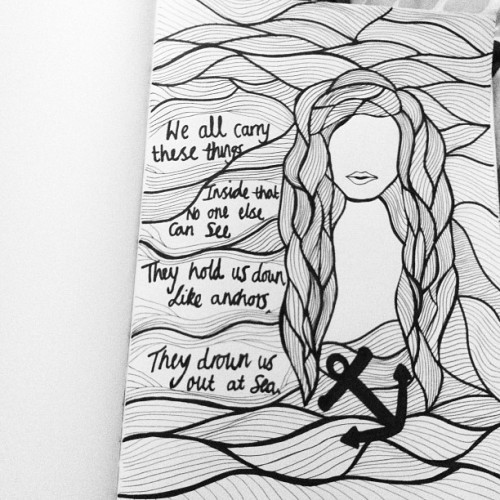 creepss:  Unfinished-Saturday night doodles lol #chelseasmile #bmth  (Taken with instagram)