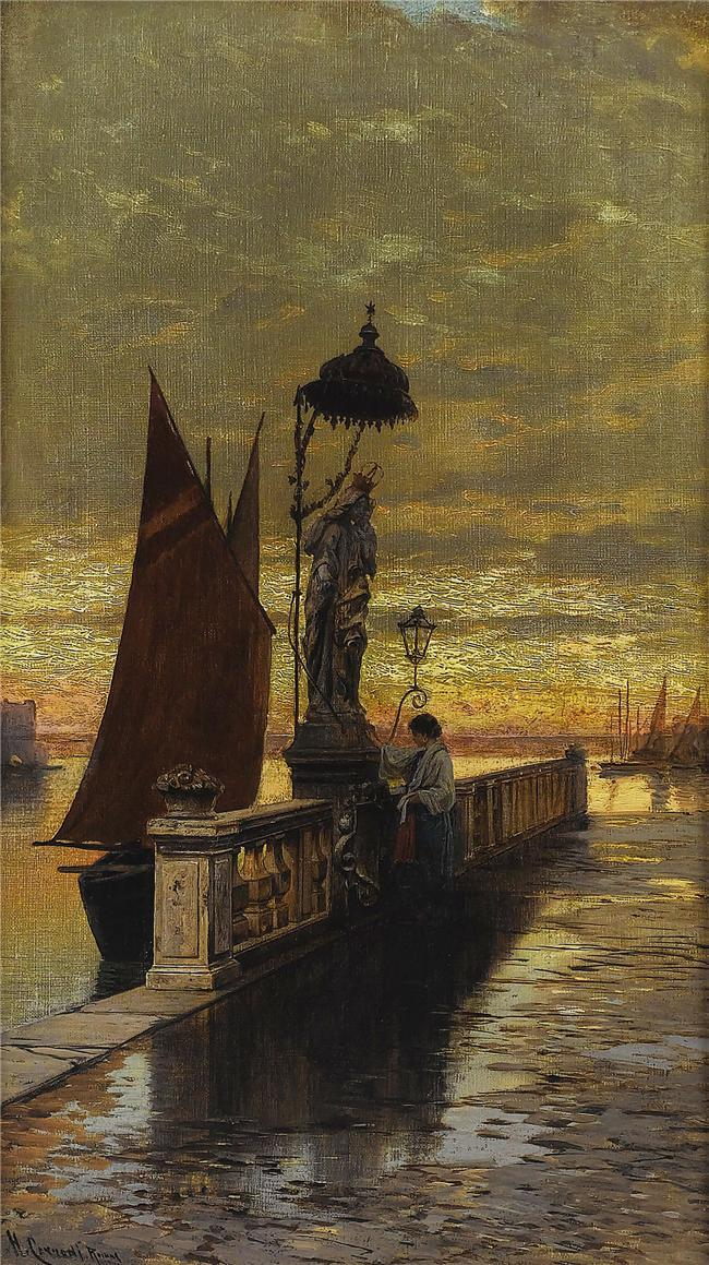 poboh:  Prayer at Dusk, Hermann David Salomon Corrodi. Italin (1844 - 1905)