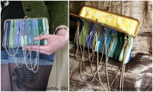 truebluemeandyou:  DIY Zipper Chain Clutch Bag. Very cool bag. Tutorial form Unfortunately Oh! here.