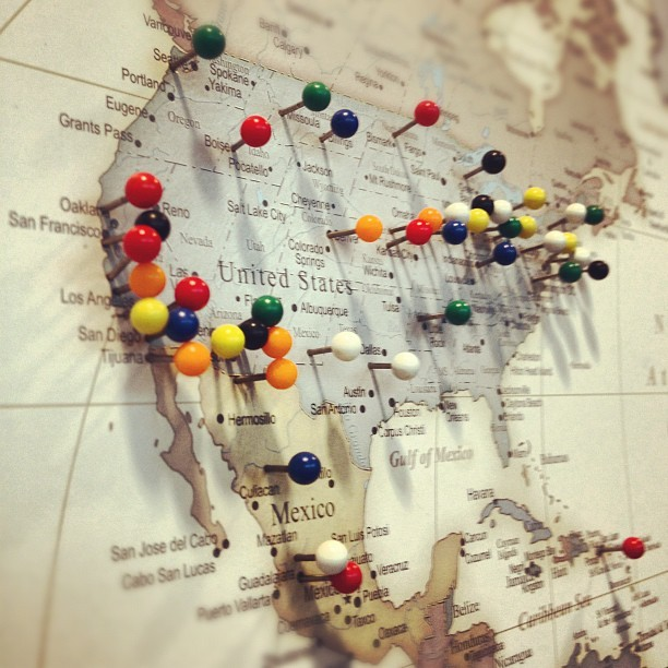 "petalligators:  instajeff:  #map #pushpins (Taken with instagram)  And we're off   This what my ""map"" looks like."