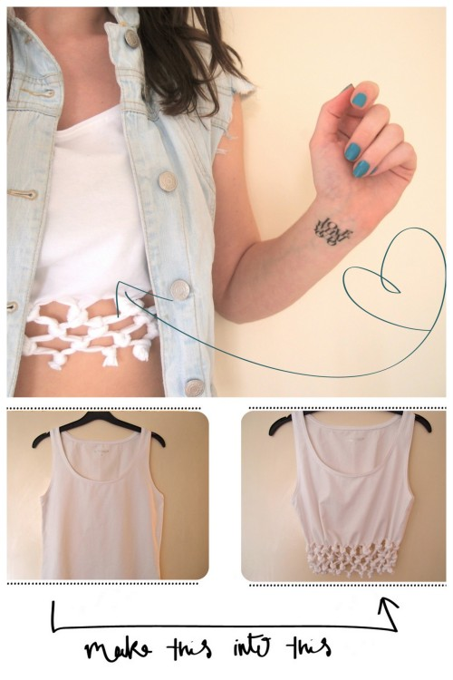 truebluemeandyou:  DIY Cut Knotted and Tied Crop Top Restyle. Tutorial from Clones & Clowns. *Her vest is a DIY she posted here.