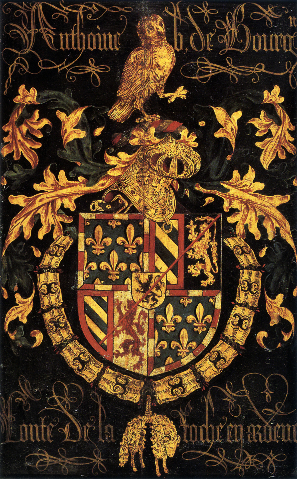 speciesbarocus:  Shield of Antoine Bastard of Burgundy in his capacity as knight of the Order of the Golden Fleece (1478).