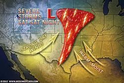 Life-Threatening Tornado Outbreak Today  A life-threatening, large outbreak of tornadoes is forecast to unfold across the central and southern Plains later today and tonight.