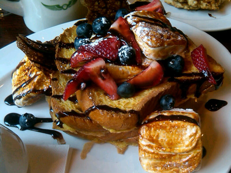 edgellace:  Um, S'mores French Toast because I'm bloated already. It sure is pretty.