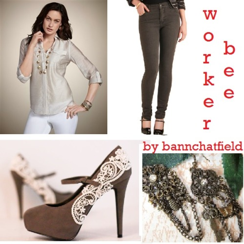 232 [bannchatfield] Worker Bee Sheer Delight Emaline Top in Wheat - $79.00 Grey-t to See You Jeans - $64.99 Grey Platform Pumps with Venise Lace - $70.00 Whimsical Charm Earrings - $45.00