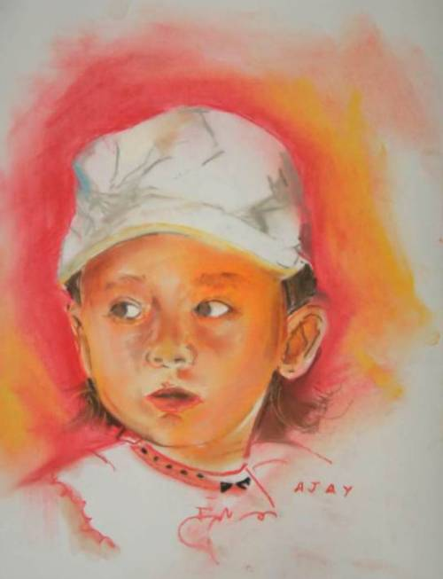 Today's enchanting Adora portrait in soft pastels was gifted to Adora by gifted Ajay Patil from India. Ajay is an IT engineer, who calls himself a 'weekend painter', but he has held 3 shows already. He mostly prefers plain air watercolors as his medium. His blog & his facebook page. Ajay is also a talented photographer. The portrait is based on this photograph which was also used by Jorge Lopez Lorenzana. Thank you so much, Ajay! - - - - - - - - - - - - - - - - When you click on the 'Adora Art' tag, you will be able to see the complete progress of this project since the first portraits of Adora were made