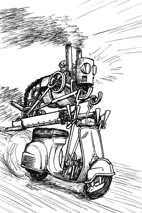 bazzelwaki:  A robot of mine riding a Vespa! After some serious discussion, it was decided that he would be most serious looking with some killer wheels under him. For a Robot Comics anthology.