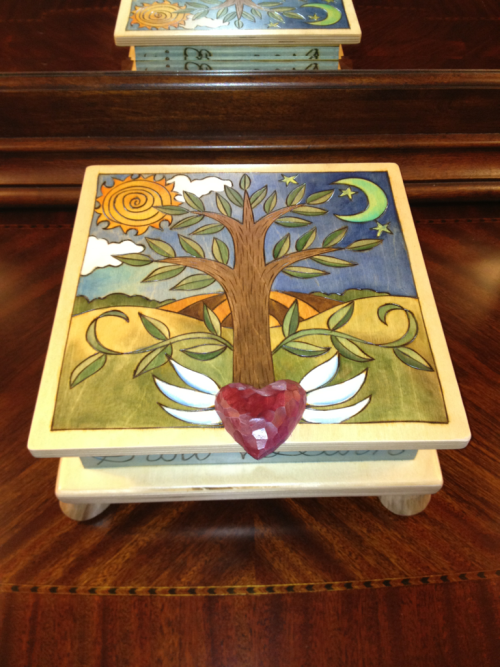 My jewelry box arrived yesterday from asheville's new morning gallery. My parents had it made for me for my birthday, and I just love it!!