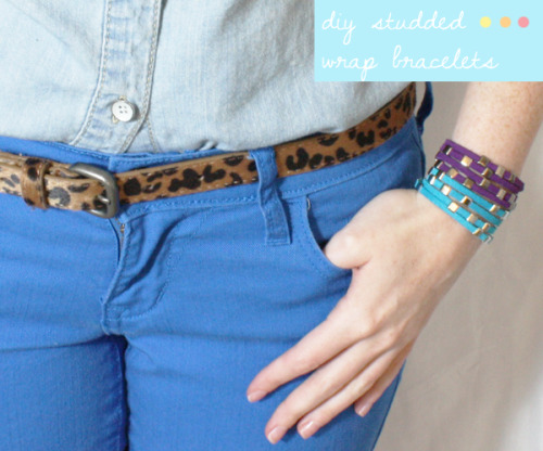 DIY Studded Wrapped Leather Bracelets. You will need cutting pliers for this project. Easy tutorial from Jenny Bevlin here.