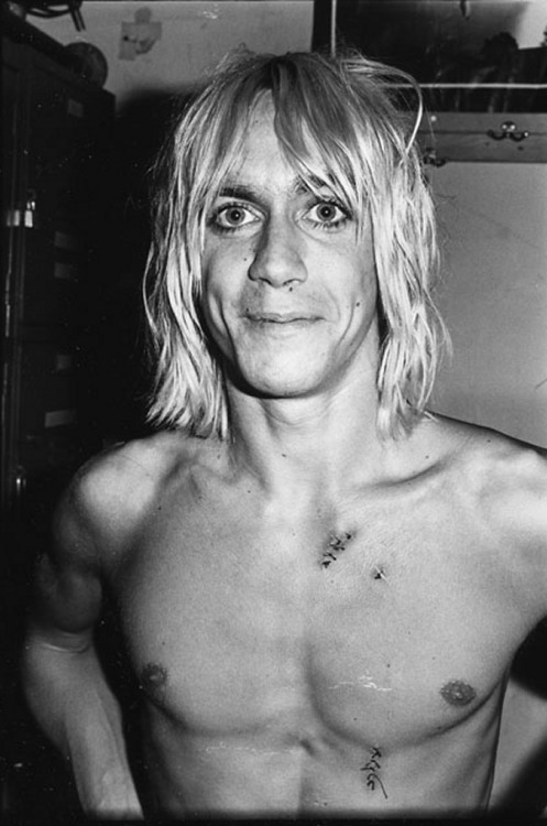 "zombiesenelghetto:  Iggy Pop, all stitched up after ""the glass incident"" at Max's Kansas City July 1973"