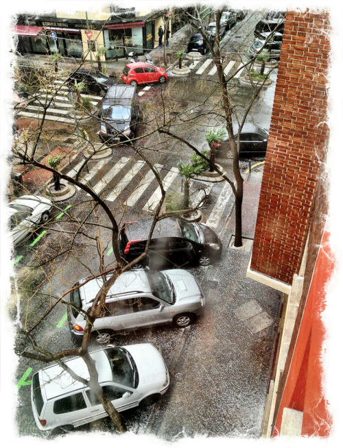 Hail storm in Madrid.