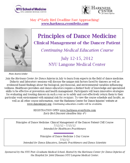 1-day Principles of Dance Medicine workshop for dance educators this summer via Harkness Center for Dance Injuries