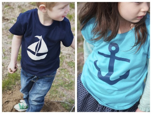 DIY Freezer Paper Stencil Shirts for Kids Clothing. So easy - it's creates results like silk screening without the silkscreen. Tutorial from Ruffles & Stuff here.