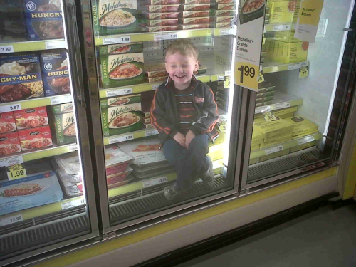 parenting:  Never seen anyone so happy to be in the freezer section!
