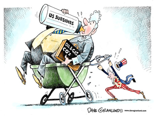 cartoonpolitics:  In the past year, the five biggest oil corporations – Chevron, Conoco, BP, Shell and Exxon Mobil earned record profits of $140 billion. Despite that the US Senate, in a move led by Republicans, voted to continue paying over $20 billion .. (that's billion, not million) .. in taxpayer subsidies to major oil companies. The 47 senators who voted to ensure the oil companies kept the subsidies have received between them $23,582,500 in oil contributions. Well gosh, what a coincidence ! (source)