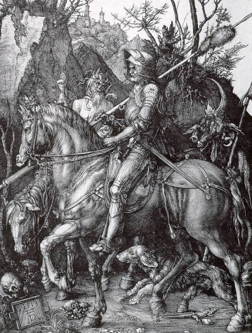 exeuntomnes:  Knight, Death, and the Devil, 1513–14Albrecht Dürer (German, 1471–1528)Engraving