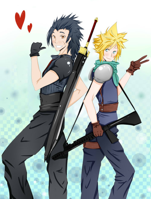 fuckyeahzackfair:  Besties - Zack and Cloud by ~Kuro-x-Sora