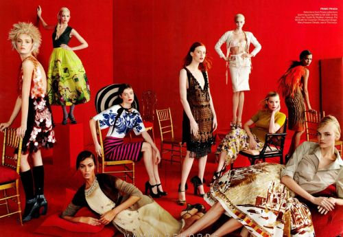 'Talk to Her' by Steven Meisel  US Vogue's May 2012 issue. Can you name all these girls?