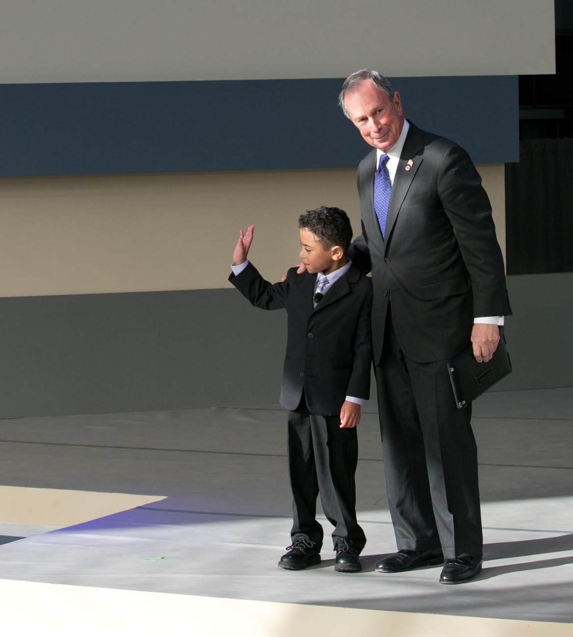 Michael Bloomberg with Gavin Michel-Baird at the dedication of the Charlotte R. Bloomberg Children's Center, April 12, 2012. For Gavin's story, click here.