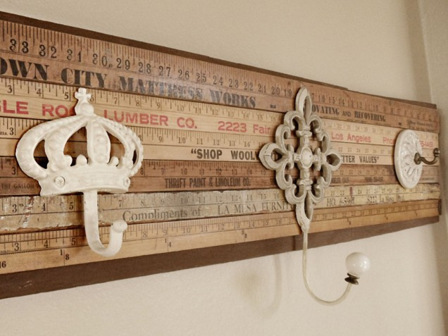 DIY yardstick coat rack