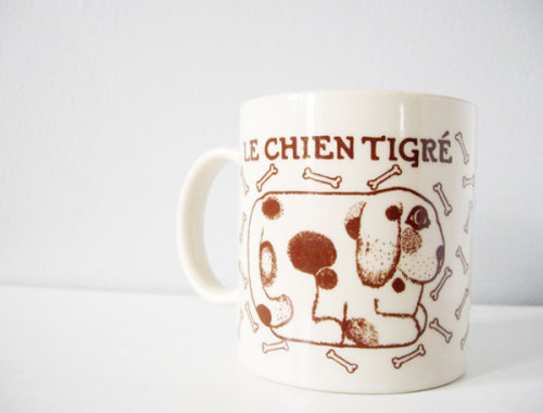 Le Chien Tigre brown tiger dog collectible vintage mug by Taylor & Ng // http://www.etsy.com/listing/97540135/le-chien-tigre-dog-collectible-vintage