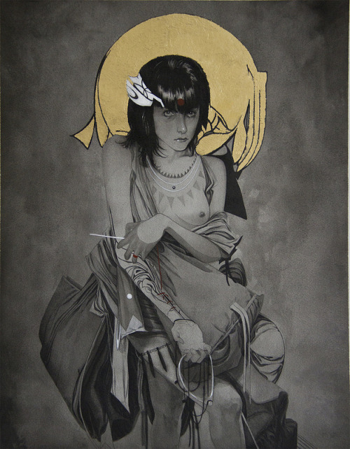 "Nimit Malavia - ""Sewing Sacrifice"" Mixed media and gold leaf on paper, 14"" x 18"" http://store.spoke-art.com/collections/nimit-malavia-finding-together-again Nimit Malavia's ""Finding Together Again"" - On view at Spoke Art Gallery in San Francisco, April 5th - April 28th, 2012"