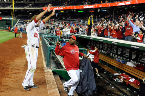 Jayson Werth #28 of the Washington Nationals waves to the crowd after driving in the game winning run in the 13th inning against the Cincinnati Reds at Nationals Park on April 13, 2012 in Washington, DC. The Nationals won the game 2-1.